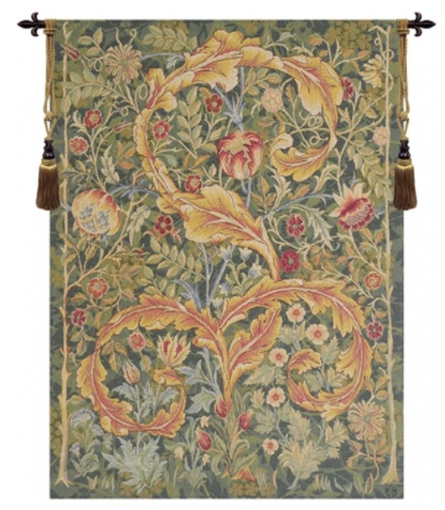 French tapestry with decorative finials.