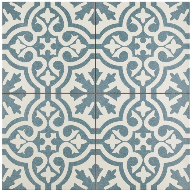 Blue and white patterned tile