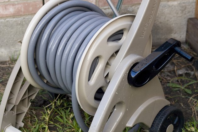 Hose reel with hose.