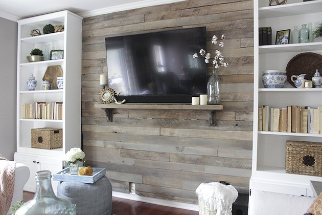 Completed pallet accent wall with TV mounted