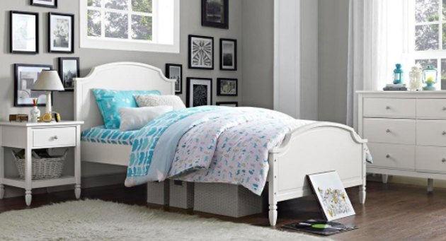 Bed with low-profile mattress.