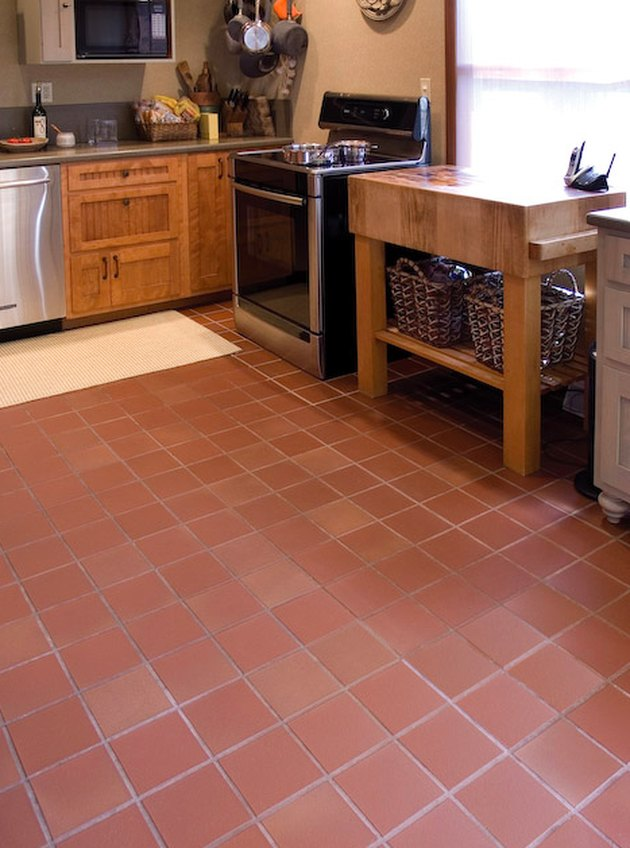 Unglazed quarry tile in a kitchen.