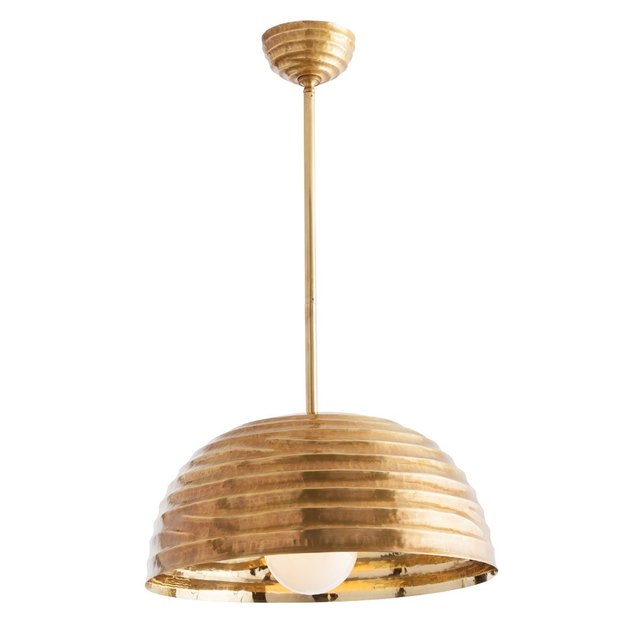 Vintage brass ribbed dome pendant light