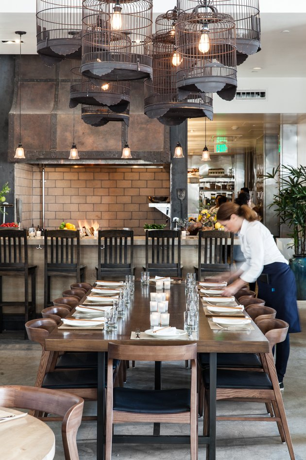 Wood fire grill and communal table
