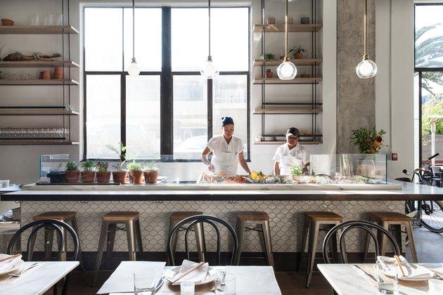 The seafood bar and tiles