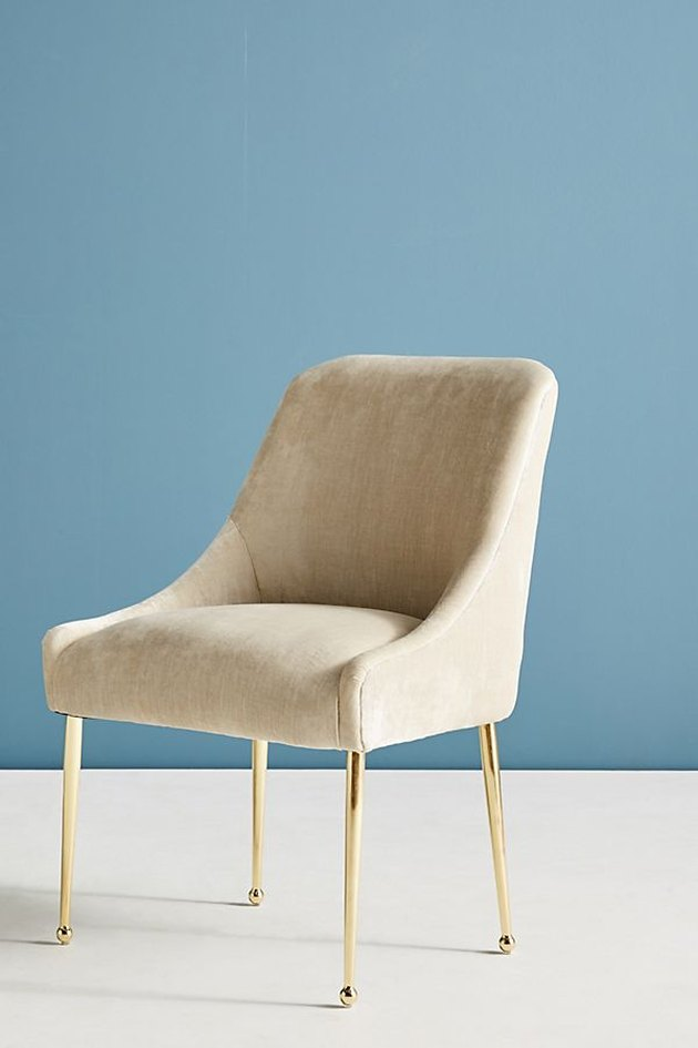 white velvet chair