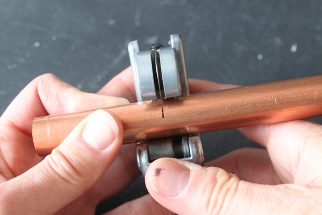 Detail of tube cutter and copper