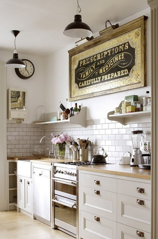 modern country kitchen white stainless steel appliances large wall art