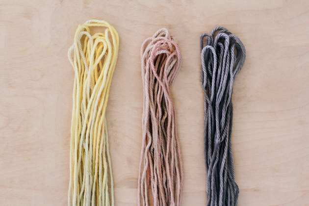 Dyed yarn strands drying