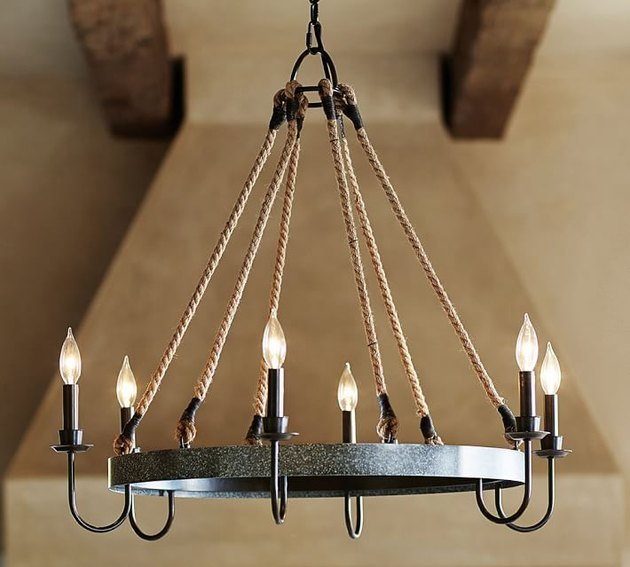 rustic chandelier rope