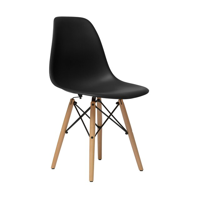 Black armless mid-century dining chair with wooden legs