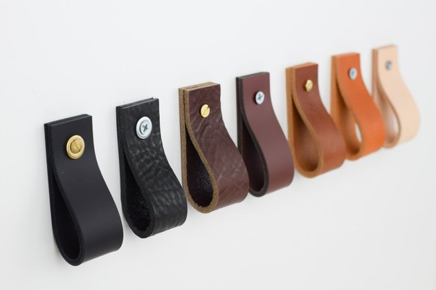 Leather drawer pulls in assorted colors