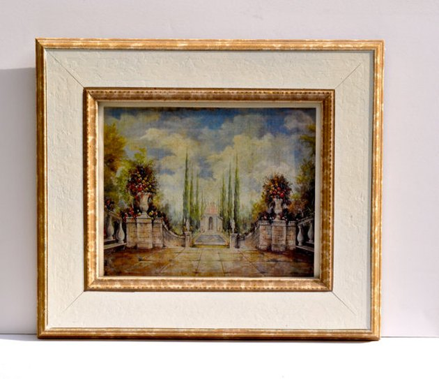 Vintage art print featuring painted italian landscape  and antique brass frame