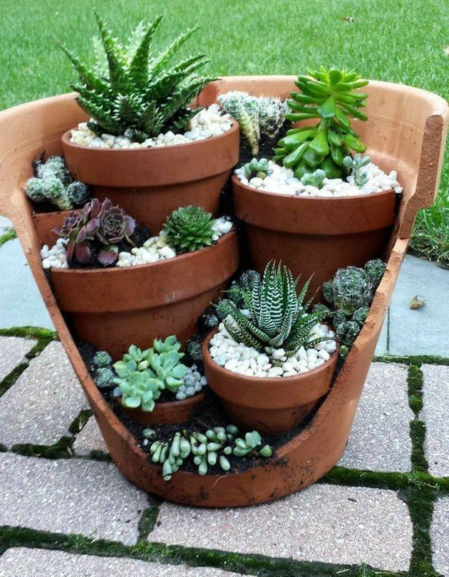 Large broken terra-cotta pot with little terra cotta planters and succulents inside