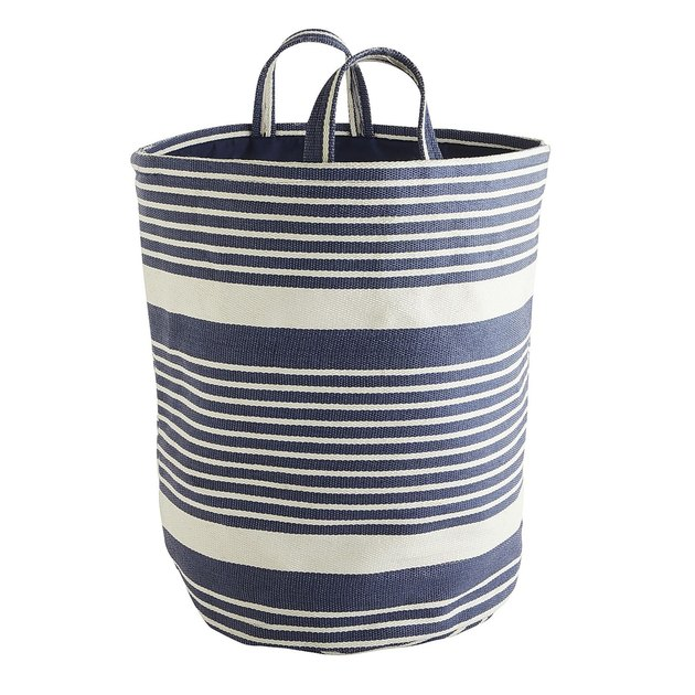 Blue and white striped laundry tote