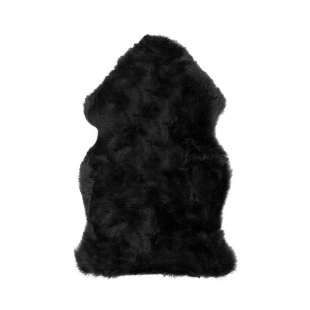 Small black faux sheepskin rug