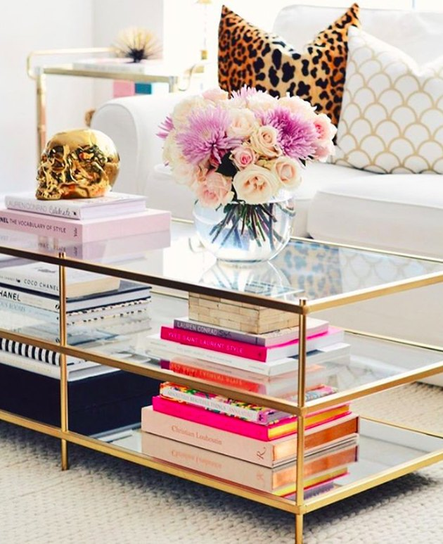 glass coffee table with books