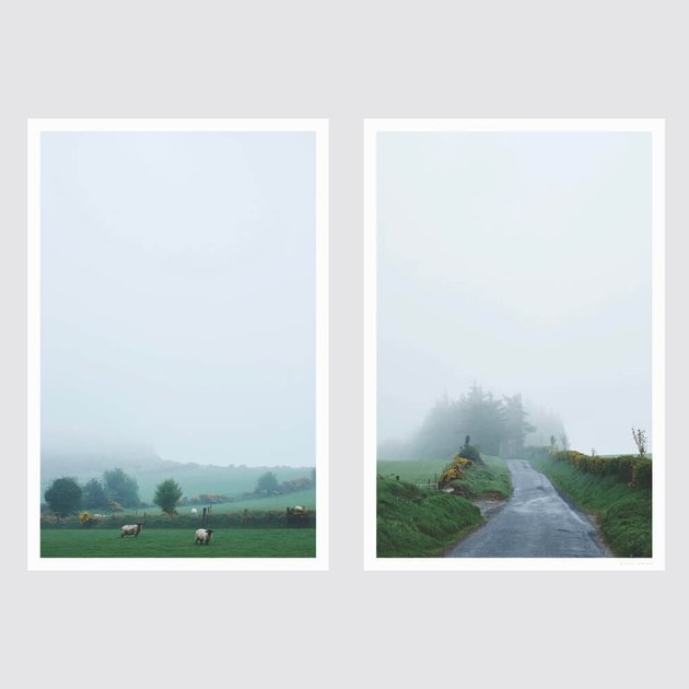 two photographs of foggy countryside