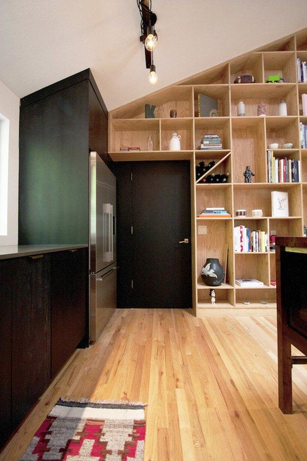 door shelves green wall