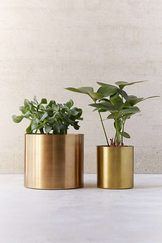two metal planters