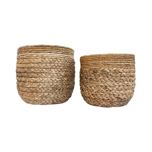 Pair of large woven nesting baskets