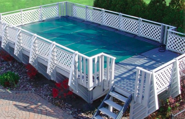 Covered above-ground swimming pool.