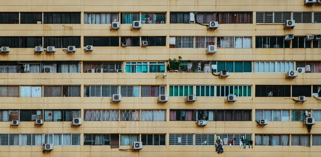An array of air conditioners.
