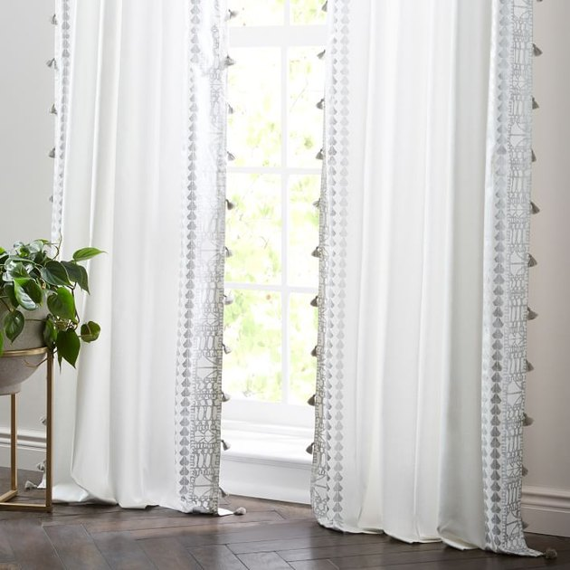 tassel curtain white