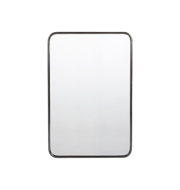 Rounded rectangular mirror with thin black frame