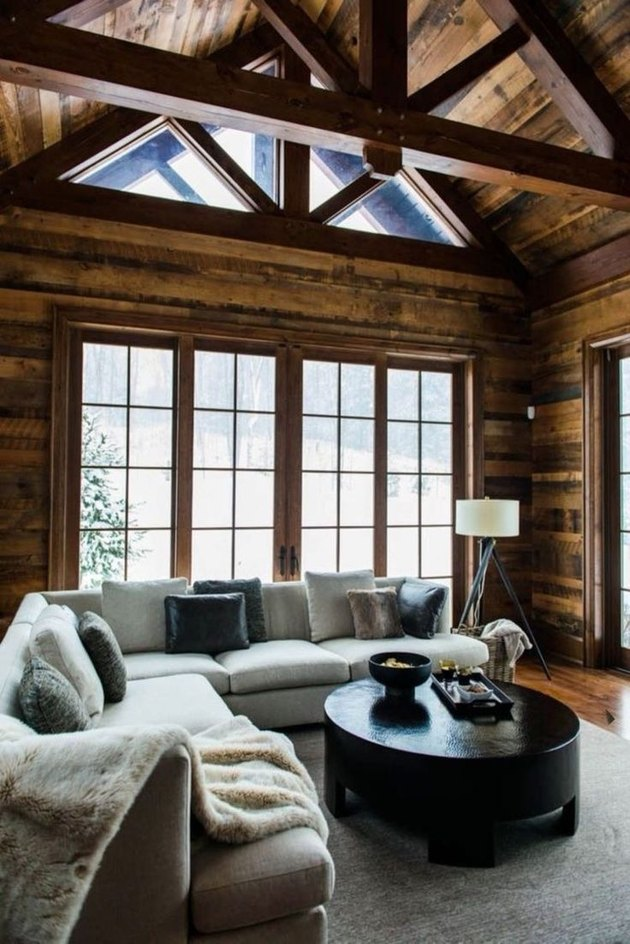 ski cottage wood beams