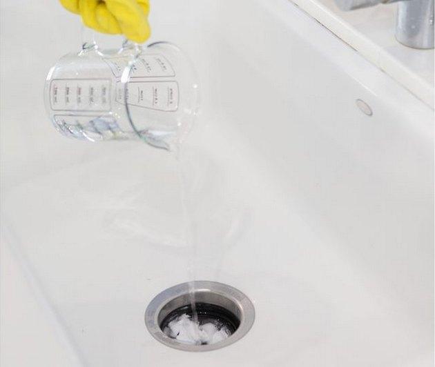 white vinegar in drain