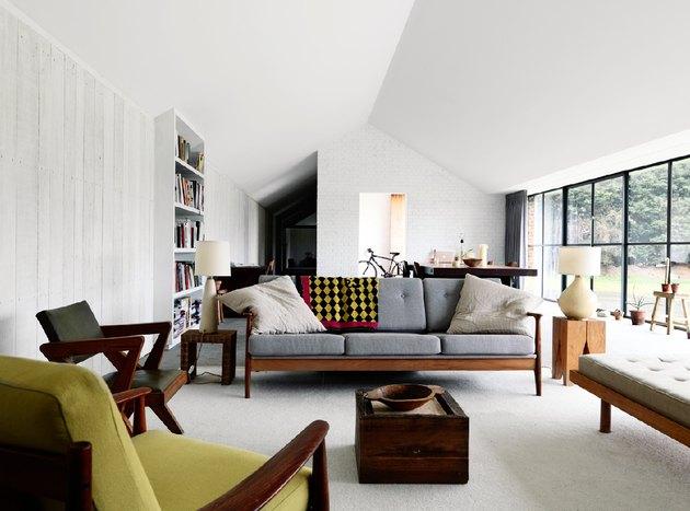 midcentury modern style home decor earth tone furniture