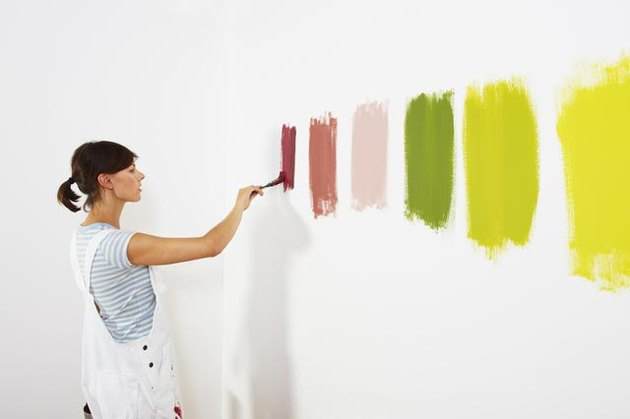 testing paint samples on wall