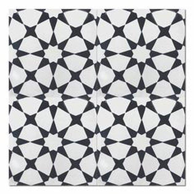 Black and white flower patterned tile