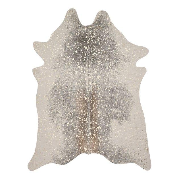 Gray faux cowhide rug