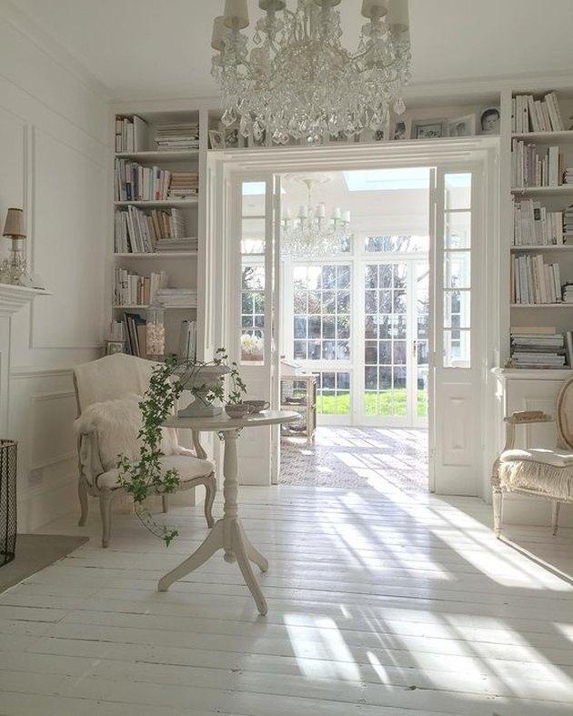 white painted wood floor