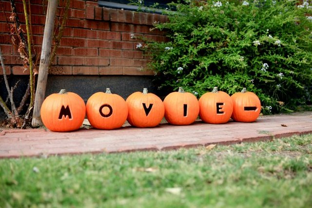 carved pumpkins for halloween movie night