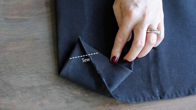 Guideline showing where to sew along folded corner