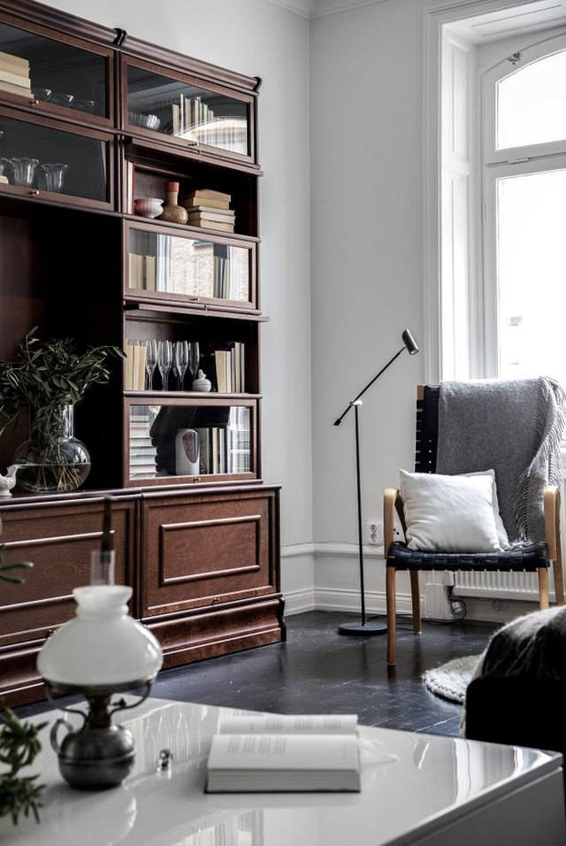 living room with black wood flooring