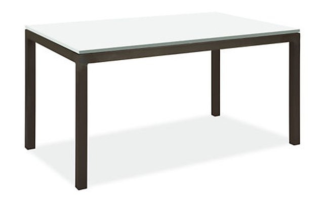 Black dining table with white surface
