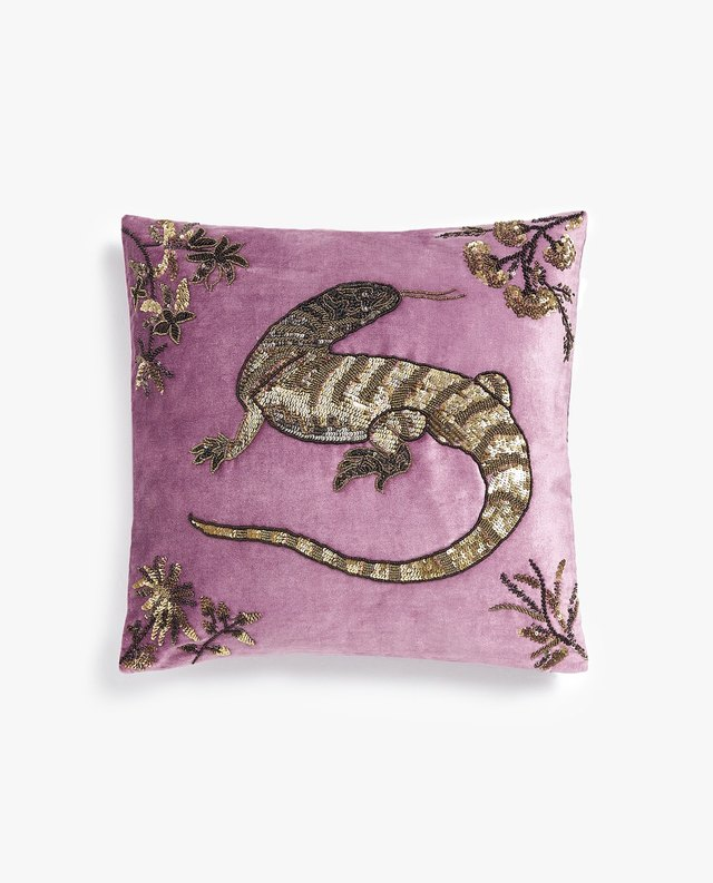 Embroidered throw pillow cover