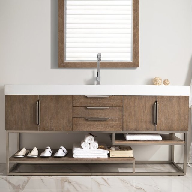 12 Open Shelf Bathroom Vanities That Are Both Chic and Practical | Hunker