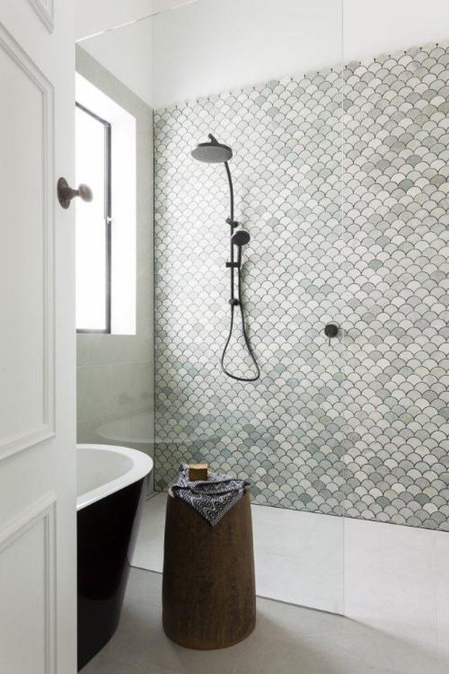 green marble fan shaped tile