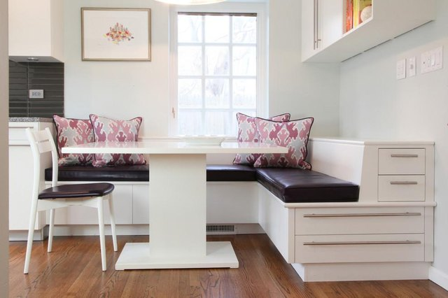 Built in bench with storage.