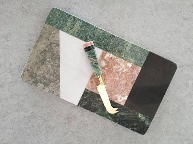 Mixed Marble Cheeseboard & Knife