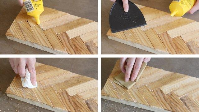 Spreading wood filler into gaps between paint sticks