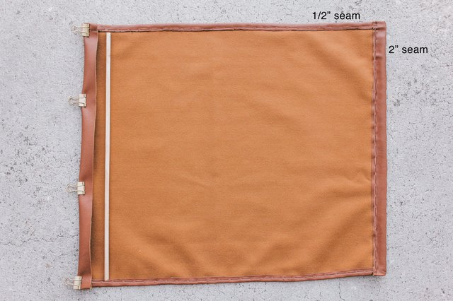 1/2 inch seam shown on top and 2 inch seam shown on side