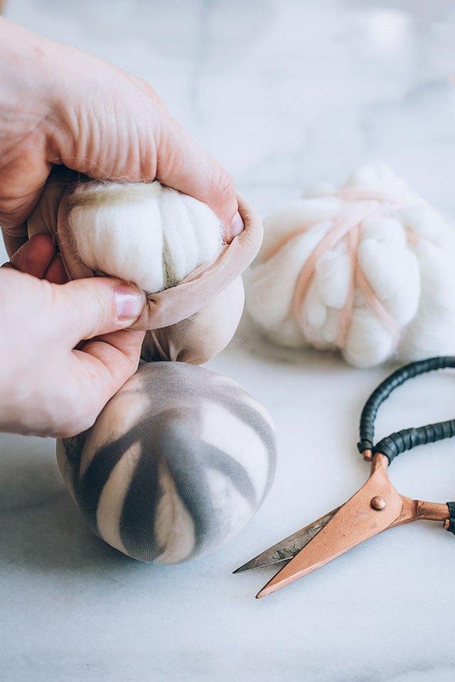 Putting Wool Dryer Balls in Pantyhose