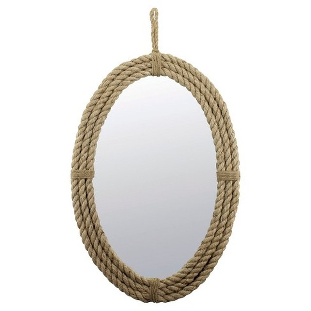 CKK Home Decor Oval Rope Decorative Wall Mirror with Loop Hanger Rope