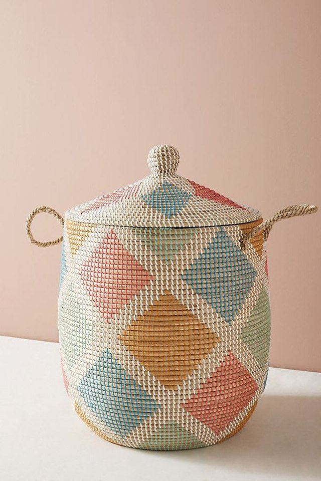 Diamond Rattan Storage Basket